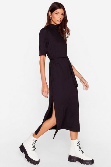 Womens Black Tee BT Belted Midi Dress