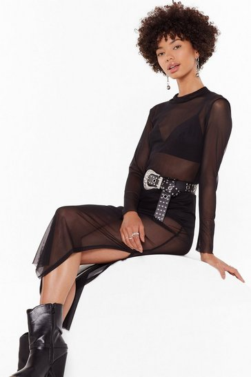 Womens Black Think a Little Mesh Slit Midi Dress