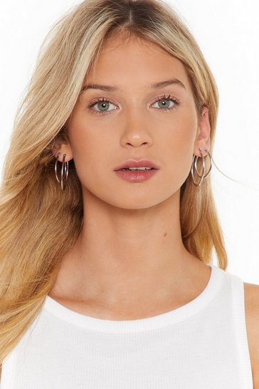 Womens Silver The Search is Oval Hoop 3-Pc Earring Set