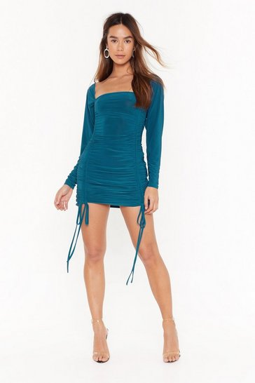 Teal Ruche Over Me Slinky Mini Dress