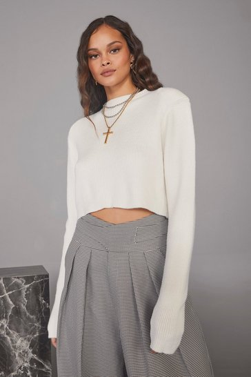 Cream Sunday Girl Cropped Sweater