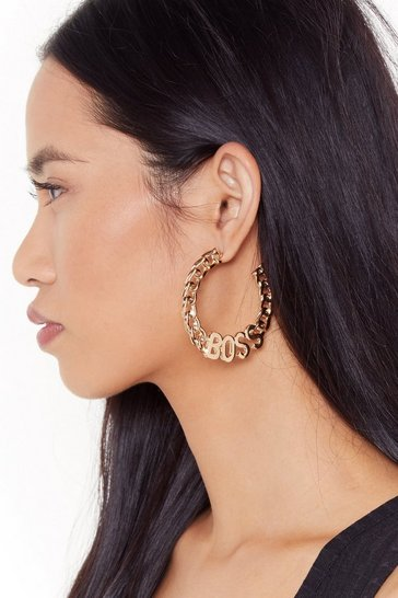 Womens Gold Yes I'm the Boss Chain Hoop Earrings