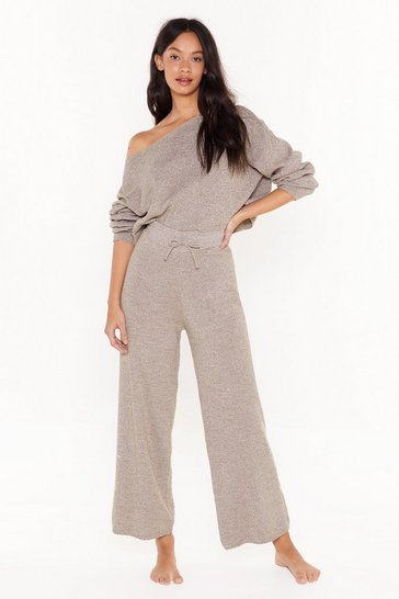 Womens Taupe Slow Down Sweater and Jogger Lounge Set