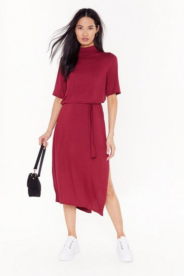 Womens Burgundy Tee BT Belted Midi Dress