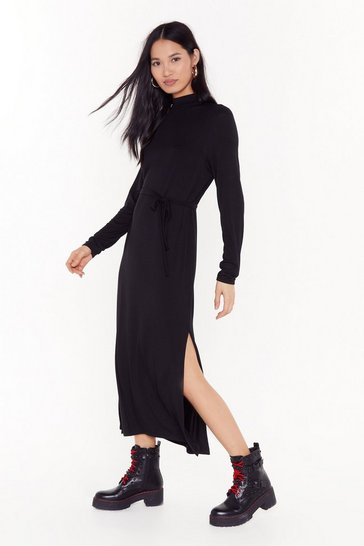 Womens Black Tie and Stop Me Belted Midi Dress