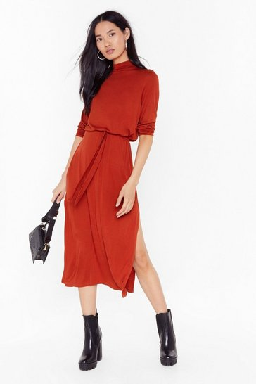 Rust Tie and Stop Me Belted Midi Dress