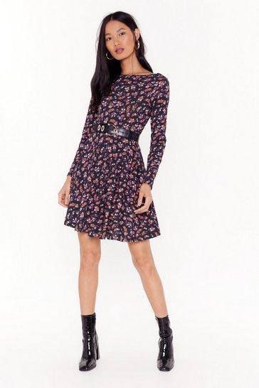 Black Our Finest Flower Floral Mini Dress