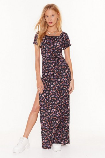 Womens Black Our Finest Flower Floral Maxi Dress