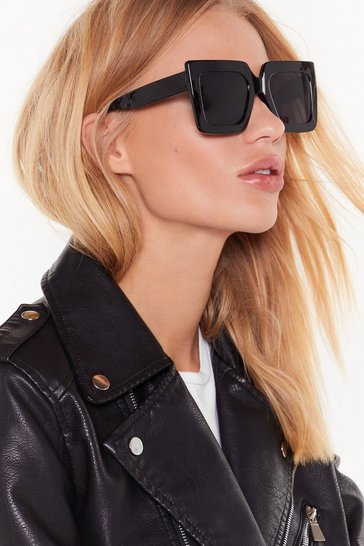 Womens Black Only Eyes for You Oversized Sunglasses