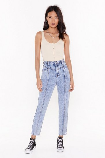 Womens Blue Seams Good to Me Acid Wash Mom Jeans