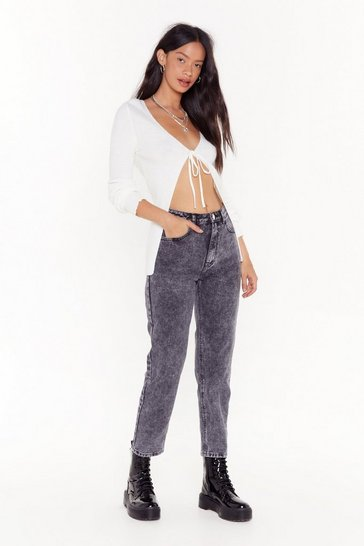 Womens Black Acid Wash It Babe Mom Jeans