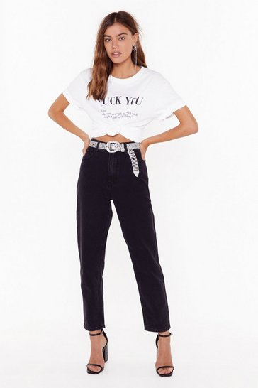 Black High Waisted Slouchy Mom Jeans