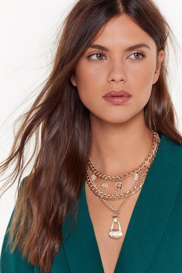 Womens Gold A Chain of Heart Layered Necklace