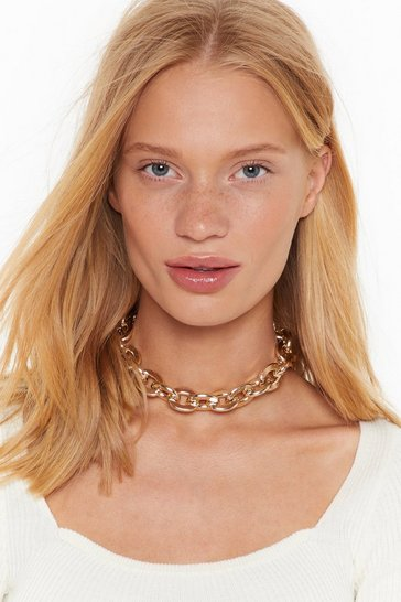 Womens Gold Love is Off the Chain Choker