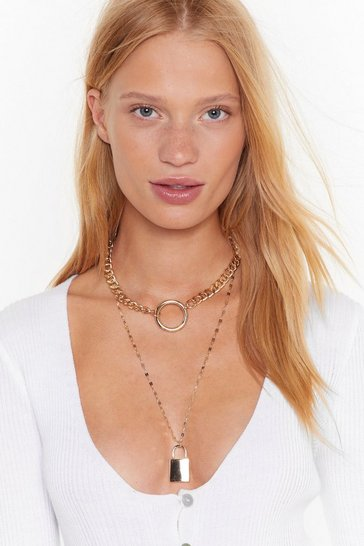 Womens Gold O Lock What Happened Layered Chain Necklace