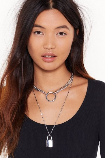 Womens Silver O Lock What Happened Layered Chain Necklace