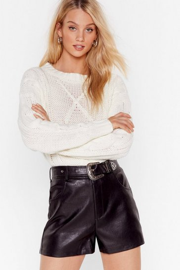 Womens Black Leather and Lace Western Belted Faux Leather Shorts