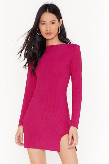Womens Hot pink Holy Slit Ribbed Mini Dress