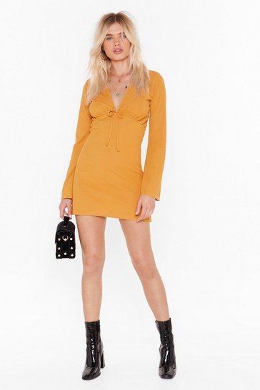 Womens Mustard Tie to Win Me Over Plunging Mini Dress
