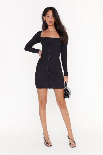 Womens Black Ahead of the Curve Ribbed Mini Dress