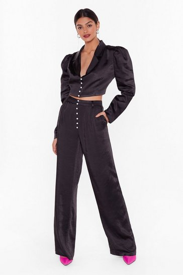 Black Nasty Gal Studio Nobody's Pearl Wide-Leg Pants
