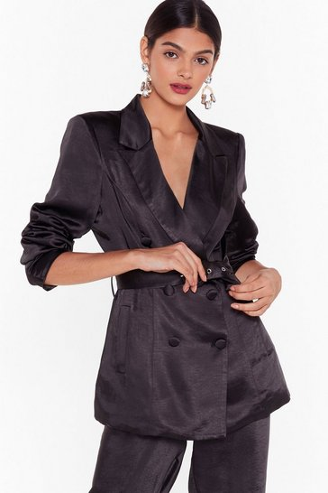 Womens Black Nasty Gal Studio Super Sleek Satin Blazer