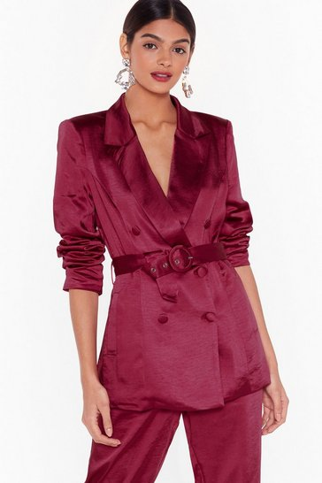 Womens Burgundy Nasty Gal Studio Super Sleek Satin Blazer
