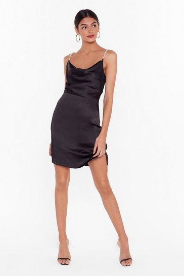 Black Nasty Gal Studio Pearls Just Wanna Have Fun Mini Dress
