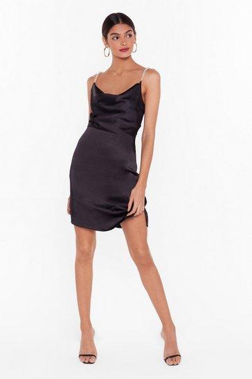 Black Nasty Gal Studio Pearls Just Wanna Have Fun Mini Dress