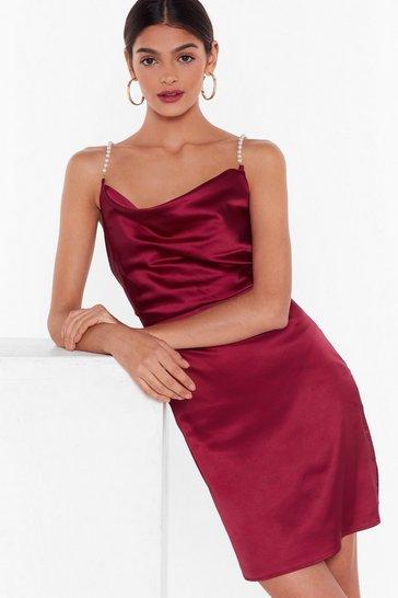 Burgundy Nasty Gal Studio Pearls Just Wanna Have Fun Mini Dress