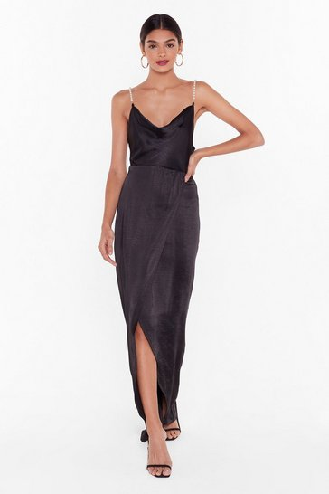 Black Nasty Gal Studio Pearls Just Wanna Have Fun Maxi Dress