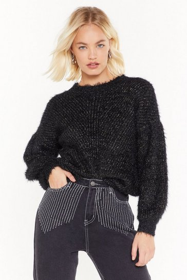 Womens Black Let Knit Shine Metallic Jumper