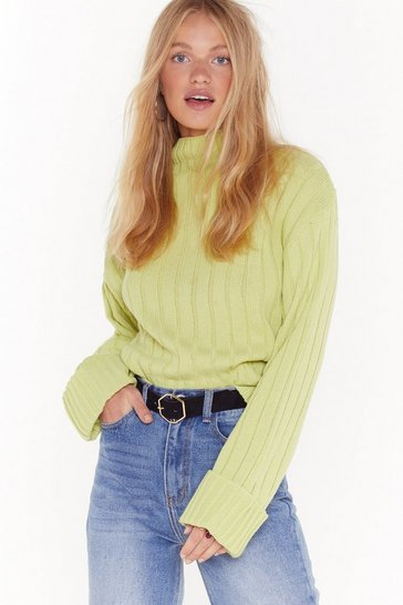 Womens Lime Knits About to Go Down Ribbed Sweater