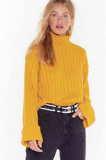 Mustard Turtleneck Ribbed Knit Sweater