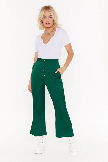 Green Add Some Flare Satin Cropped Pants