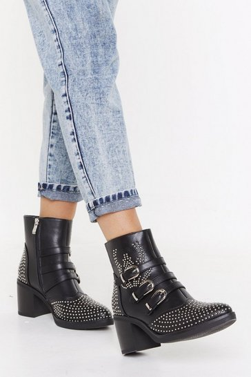 Black Pinstud Triple Buckle Boots