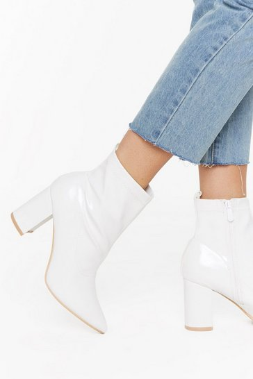 White Faux Patent Leather Pointed Boots