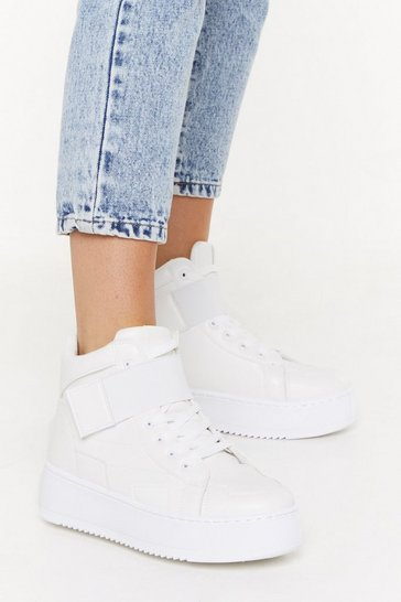 Womens White Flatform PU High Top Sneaker