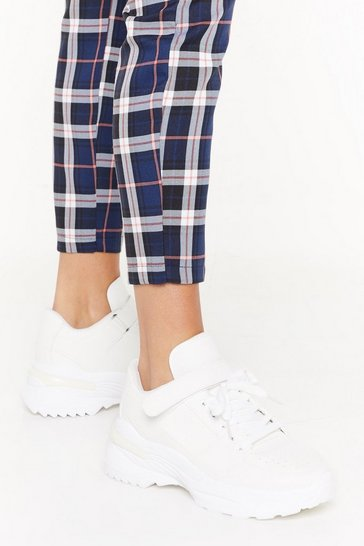 Womens White Chunky Sole Strap PU Sneaker