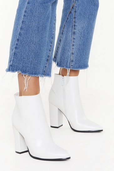Womens White PU Heeled Ankle Boots