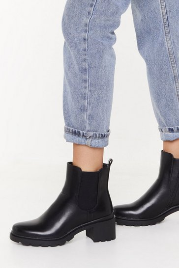 Womens Black Cleated Chelsea Boot