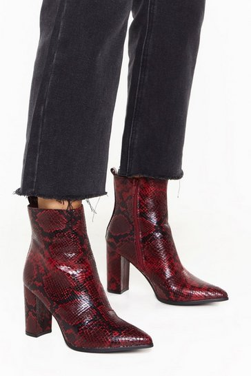Womens Red Snake Way Faux Leather Heeled Boots