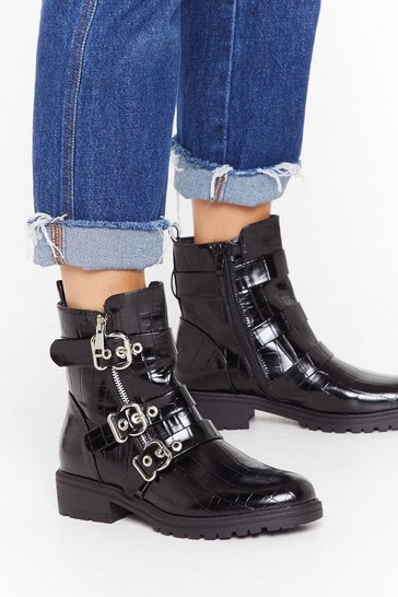 Womens Black Faux Croc Triple Buckle Biker Boot