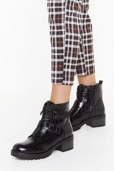 Black Croc to Go Faux Leather Biker Boots