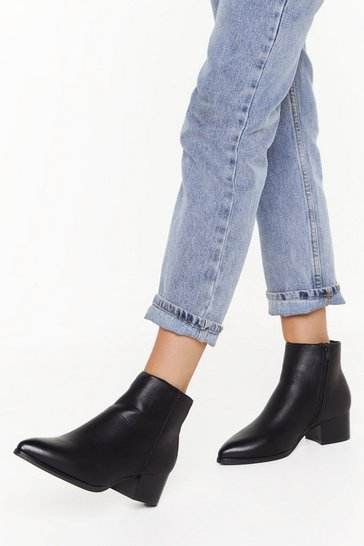 Pointed Mid Block Heel Ankle Boots