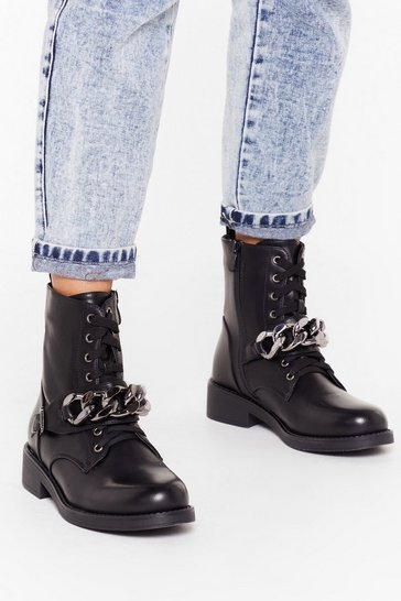 Womens Black Chain of My Life Faux Leather Biker Boots