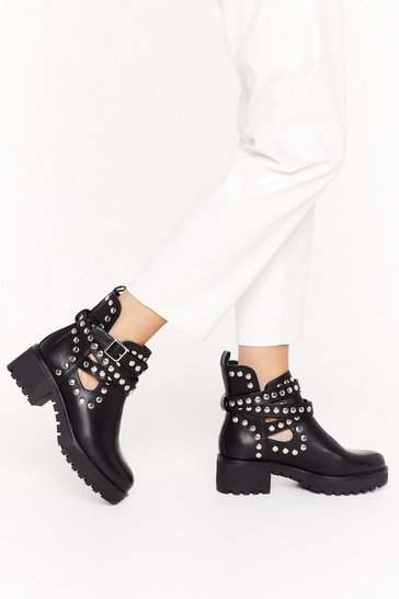 Womens Black Lookin' Stud Babe Strappy Boots