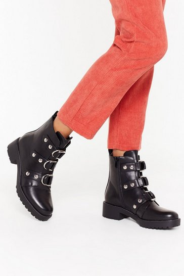 Womens Black Tripl D Ring Biker Boots
