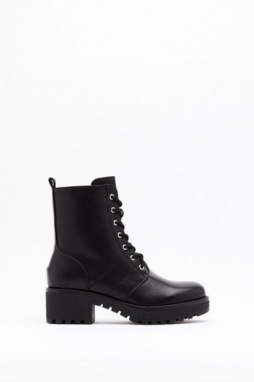 Womens Black LV Sole Lace Up Hiker Boot