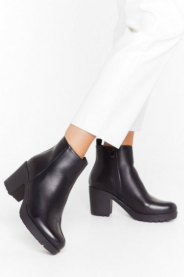 Black Walk the Walk Faux Leather Block Heel Boots
